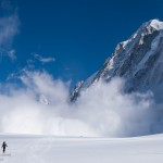 Mel and avalanche, Argentiere Glacier, Chamonix France