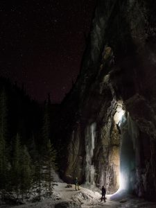 Ice climbing under the stars, Grotto Canyon, Alberta
