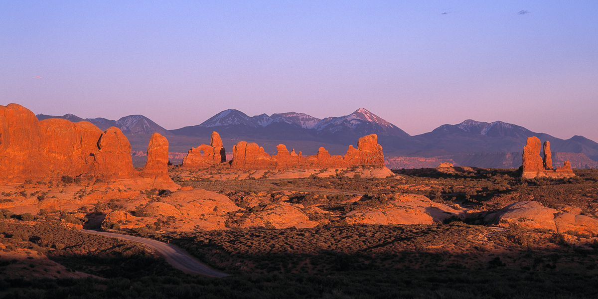 Sunset at Windows Area, Arches National Park, Utah, May 2001.