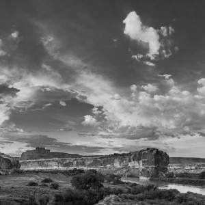 Sunset at Anderson Bottom on the Green River, Canyonlands National Park, Utah. High-contrast black and white conversion.